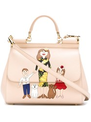 Dolce And Gabbana Family Patch 'Sicily' Tote Nude And Neutrals