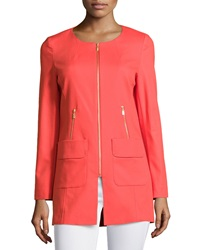 Laundry By Shelli Segal Zip Front Topper Jacket Hibiscus