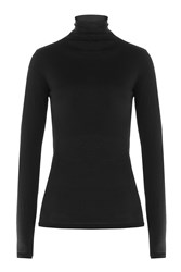 Velvet Cotton Turtleneck Black