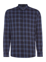 Criminal Darwen Check Long Sleeve Shirt Navy