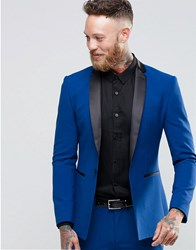 Asos Super Skinny Tuxedo Suit Jacket In Blue Blue