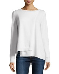 Minnie Rose Cashmere Long Sleeve Crossover Sweater White