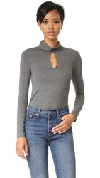 Haute Hippie Keyhole Top Charcoal Heather Grey