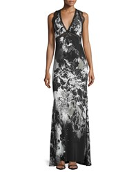 Roberto Cavalli Sleeveless Kimono Floral Gown Black White Women's