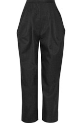 Vika Gazinskaya Pleated Wool Twill Tapered Pants Dark Gray