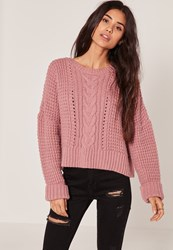 Missguided Pink Cable Cropped Jumper