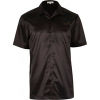 River Island Mens Black Satin Eagle Back Short Sleeve Shirt
