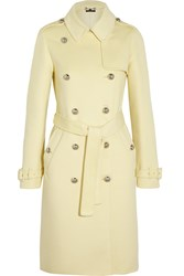 Gucci Double Breasted Wool And Angora Blend Coat Pastel Yellow