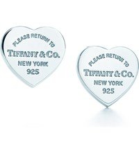 Tiffany And Co. Return To Tiffanytm Mini Heart Tag Earrings In Sterling Silver