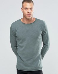 Solid Raw Edge Crew Neck Knit Grey 3812