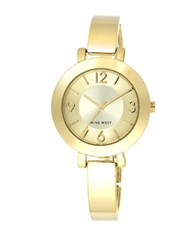 Nine West Ladies Quartz Goldtone Bangle Bracelet Watch