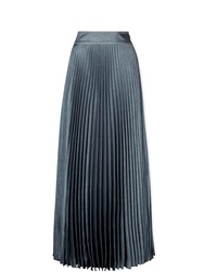 Karen Millen Faux Denim Pleated Maxi Skirt Dark Blue Dark Blue