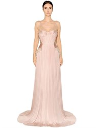 Maria Lucia Hohan Sardegna Pleated Tulle And Lame Lace Gown
