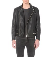 Allsaints Clay Leather Biker Jacket Black