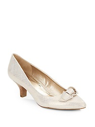 Circa Joan And David Edlyn Embossed Metallic Leather Point Toe Pumps Off White