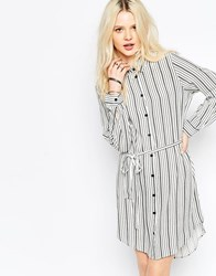 B.Young Mixed Stripe Shirt Dress Off White