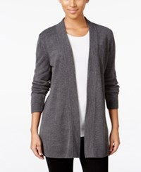 Karen Scott Open Front Sweater Cardigan Only At Macy's Only At Macy's Charcoal Heather