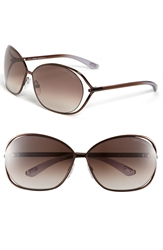Tom Ford 'Carla' 66Mm Oversized Round Metal Sunglasses Brown Brown