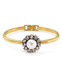 Marc Jacobs Crystal Flower Hinge Bangle Cream Antique Gold