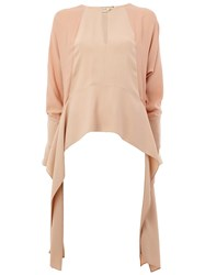 Lanvin Draped Keyhole Accent Top Pink And Purple