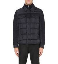 Moncler Blais Quilted Shell And Wool Jacket Navy