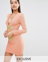Rare London Bodycon Dress With Gold Trim Nude Pink