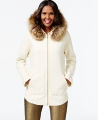 Inc International Concepts Faux Fur Collar Sweater Jacket Only At Macy's Buttercream