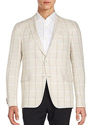 Sand Windowpane Checks Linen Two Button Sportcoat Beige