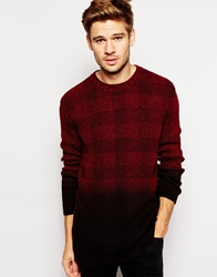 Selected Check Knitted Jumper With Dip Dye Black