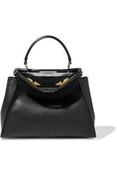 Fendi Peekaboo Medium Crocodile Trimmed Leather And Python Tote Black