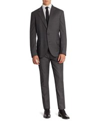 Brunello Cucinelli Graph Checked Lana Wool Suit Grey