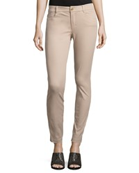 Minnie Rose Skinny Stretch Twill Ankle Pants Taupe Brown