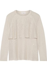 Brunello Cucinelli Sequin Embellished Linen And Silk Blend Sweater White