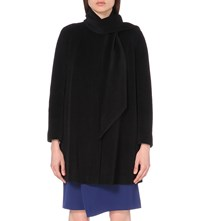 Armani Collezioni Scarf Detailed Angora Blend Swing Coat Black
