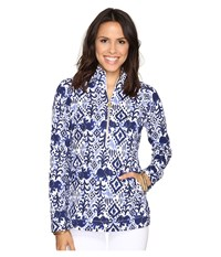 Lilly Pulitzer Skipper Popover Bright Navy Tons Of Fun Women's Long Sleeve Pullover