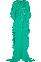 Oscar De La Renta Embroidered Silk Crepe Gown Jade