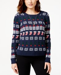 Almost Famous Juniors' Shine Holiday Pullover Sweater Allover Ti