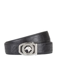 Stefano Ricci Hexagon Eagle Buckle Croc Belt Unisex Black
