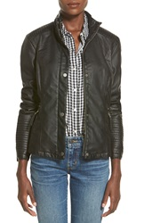 Celebrity Pink Quilted Faux Leather Jacket True Black