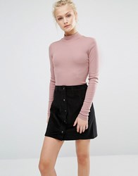 Vila High Neck Long Sleeve Top Mauve Purple