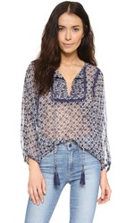 Twelfth St. By Cynthia Vincent Tie Front Peasant Top Indigo