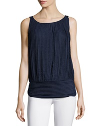Max Studio Stretch Tiered Lace Tank Navy