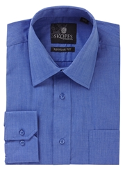 Skopes Easy Care Regular Fit Long Sleeve Shirt Mid Blue