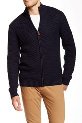Bison Long Sleeve Knit Zip Sweater Blue