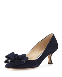 Manolo Blahnik Lisane Suede Bow Kitten Heel Pump Navy