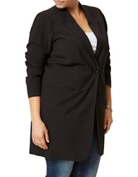 Junarose Plus Kity Shaped Long Blazer Black