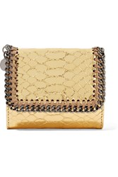 Stella Mccartney Falabella Metallic Snake Effect Faux Leather Wallet Gold