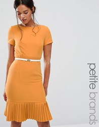 Paper Dolls Petite Plunge Front Dress With Pleated Hem Mustard Yellow