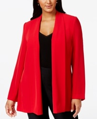 Calvin Klein Plus Size Open Front Soft Jacket Red