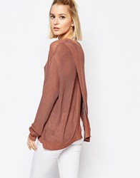 Weekday Open Back Long Knit Sweater Light Brown